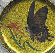 six coasters: brown butterfly with orange flower