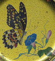 six coasters: closeup spotted butterfly with closing wings and blue flower