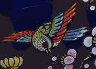closeup of flying bird from Chinese blue vase