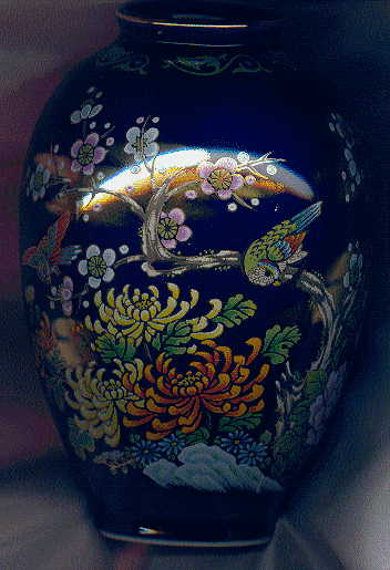 Chinese blue vase with gilt tree design: front view