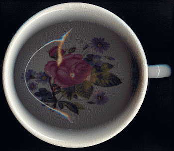 portmeirion chamber pot: view from above shows rose inside