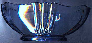 art deco pale blue glass rose bowl, side view