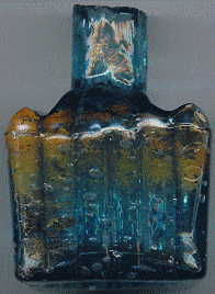 aqua glass victorian ink bottle with original broken-off neck and many many bubbles: right view