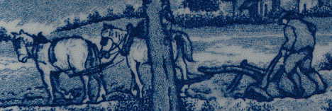 ploughman and horses detail from rural scene