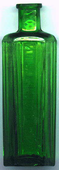 hexagonal green poison bottle: back view